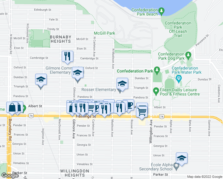 map of restaurants, bars, coffee shops, grocery stores, and more near 101 Madison Avenue in Burnaby