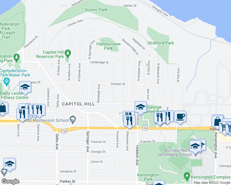map of restaurants, bars, coffee shops, grocery stores, and more near 33 Howard Avenue in Burnaby