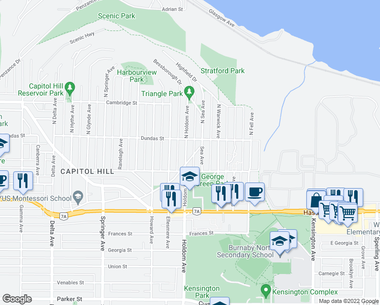 map of restaurants, bars, coffee shops, grocery stores, and more near 26 Holdom Avenue in Burnaby