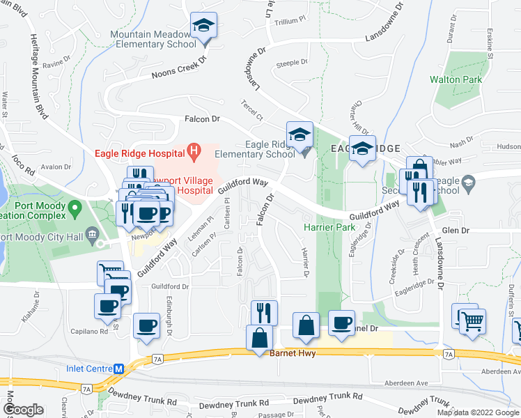 map of restaurants, bars, coffee shops, grocery stores, and more near 1190 Falcon Drive in Coquitlam