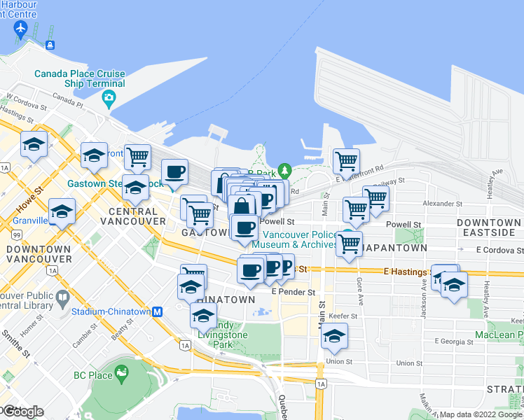 map of restaurants, bars, coffee shops, grocery stores, and more near 41 Alexander Street in Vancouver