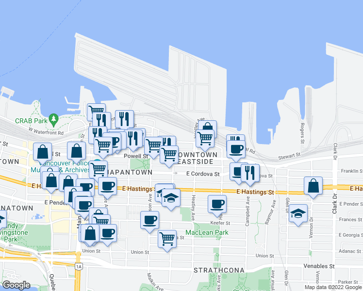 map of restaurants, bars, coffee shops, grocery stores, and more near 624 Alexander Street in Vancouver