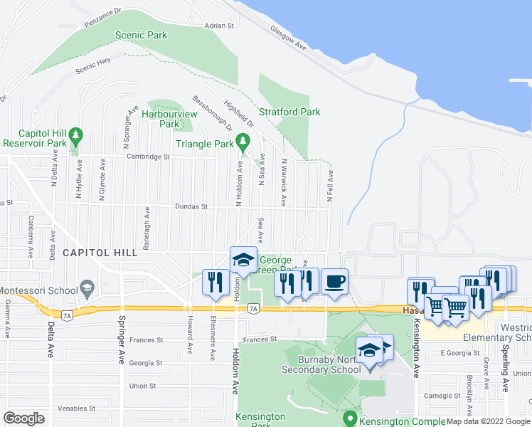 map of restaurants, bars, coffee shops, grocery stores, and more near 12 Sea Avenue in Burnaby