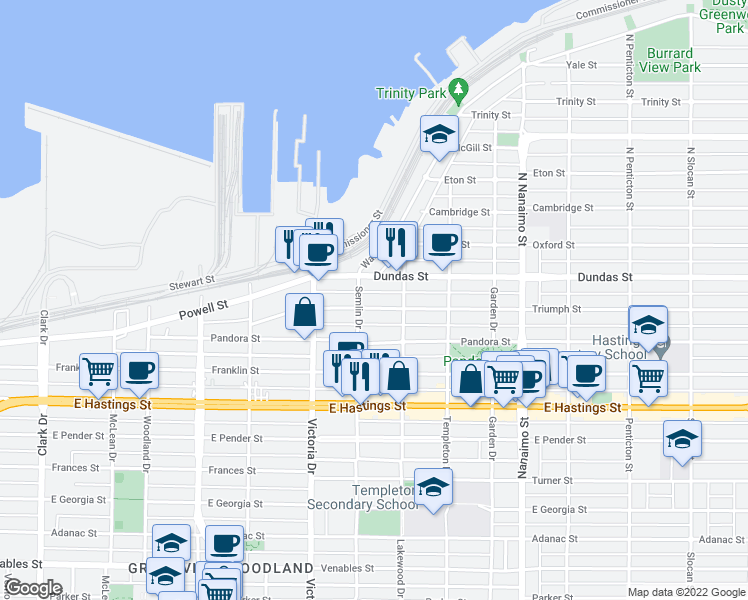 map of restaurants, bars, coffee shops, grocery stores, and more near 2033 Triumph Street in Vancouver