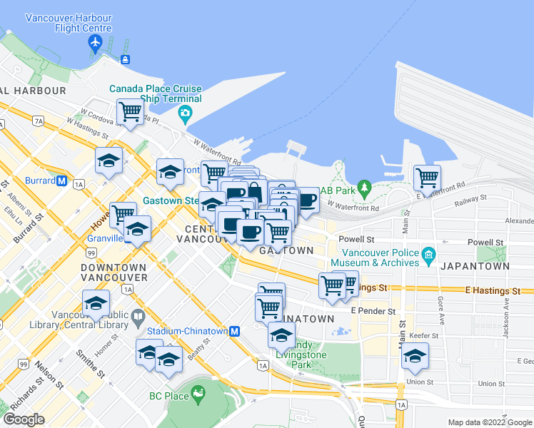 map of restaurants, bars, coffee shops, grocery stores, and more near 141 Water Street in Vancouver