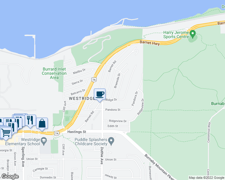 map of restaurants, bars, coffee shops, grocery stores, and more near 7225 Braeside Drive in Burnaby