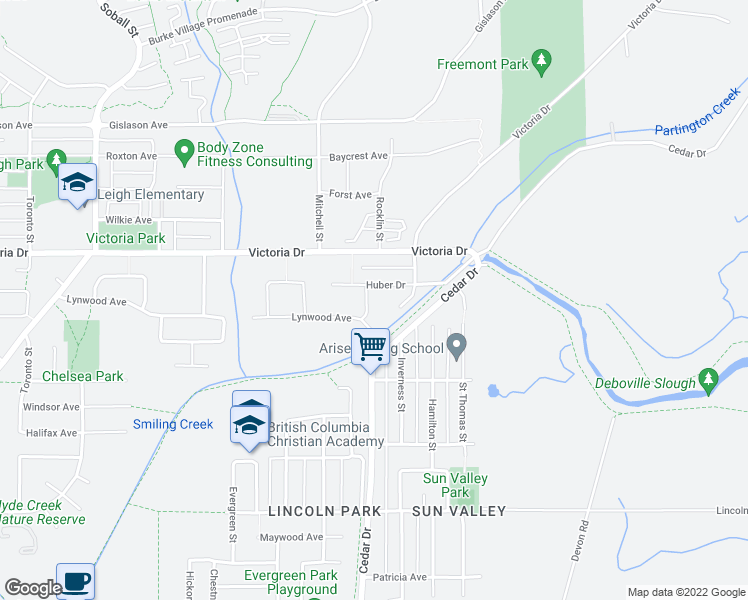 map of restaurants, bars, coffee shops, grocery stores, and more near 4048 Ayling Street in Port Coquitlam
