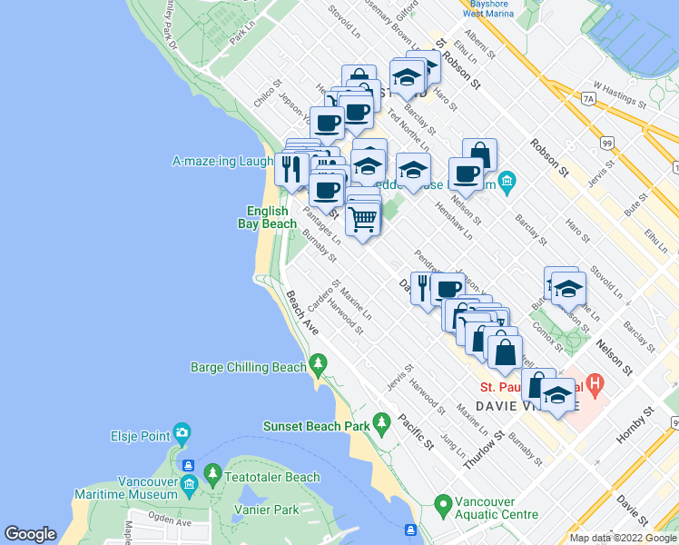 map of restaurants, bars, coffee shops, grocery stores, and more near 1265 Cardero Street in Vancouver