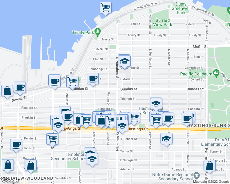 map of restaurants, bars, coffee shops, grocery stores, and more near 29 Nanaimo Street in Vancouver