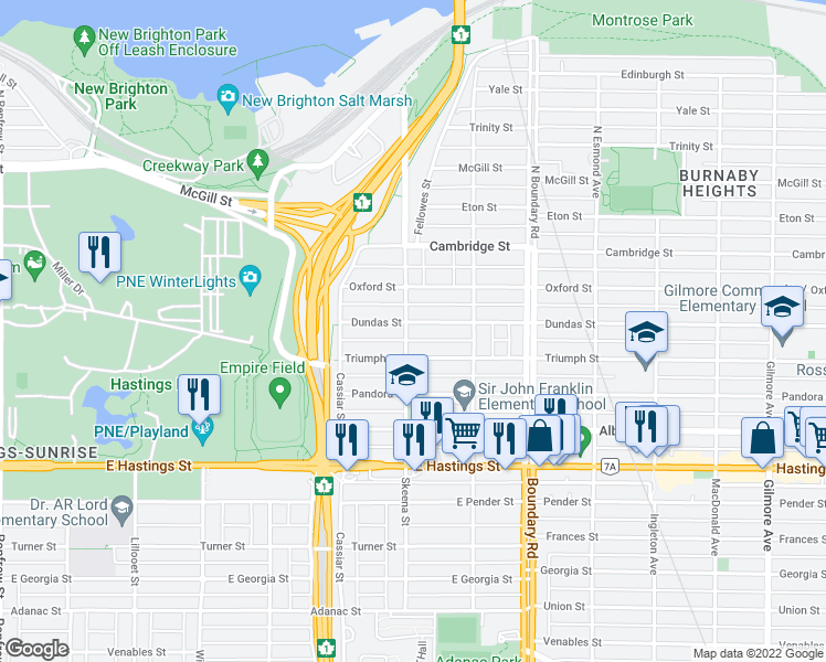 map of restaurants, bars, coffee shops, grocery stores, and more near 3502 Dundas Street in Vancouver