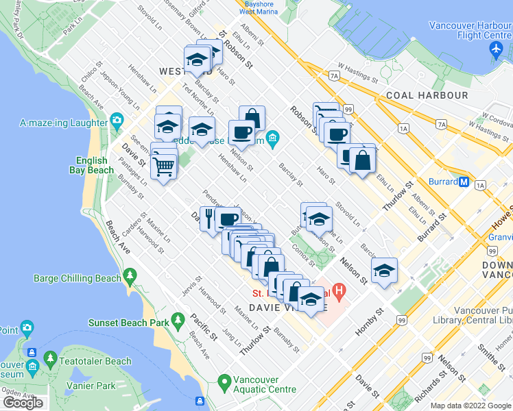 map of restaurants, bars, coffee shops, grocery stores, and more near 1345 Comox Street in Vancouver
