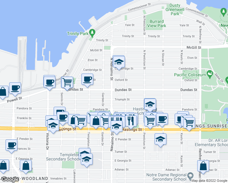 map of restaurants, bars, coffee shops, grocery stores, and more near 2 Nanaimo Street in Vancouver