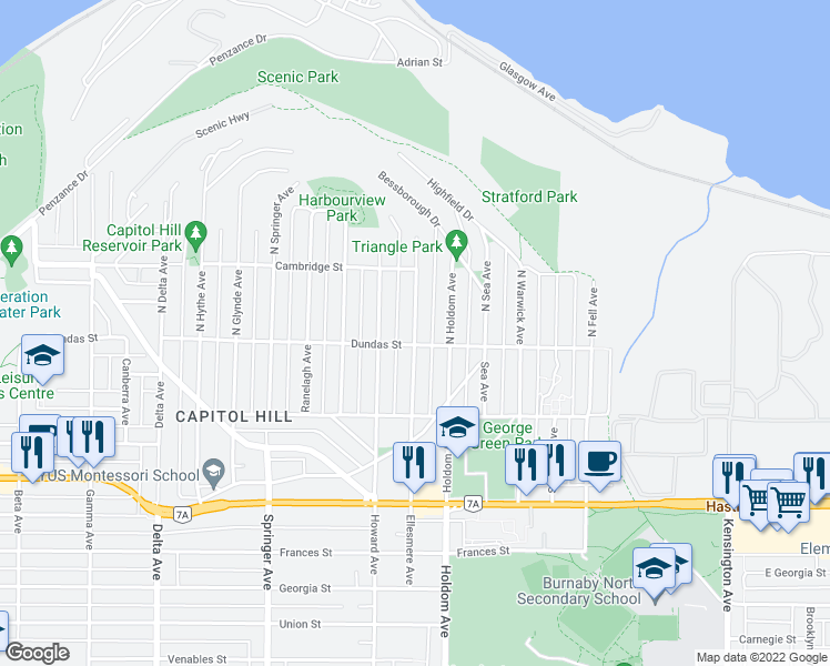map of restaurants, bars, coffee shops, grocery stores, and more near 14 North Ellesmere Avenue in Burnaby
