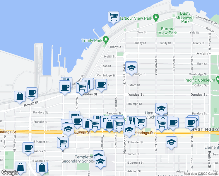 map of restaurants, bars, coffee shops, grocery stores, and more near 2250 Oxford Street in Vancouver