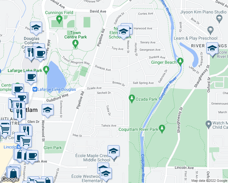 map of restaurants, bars, coffee shops, grocery stores, and more near 3169 Sechelt Drive in Coquitlam