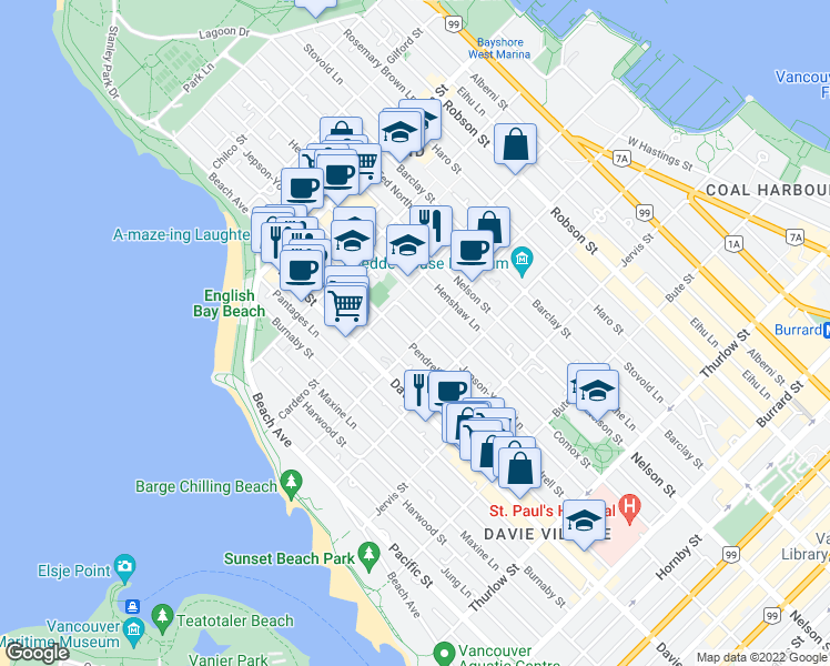 map of restaurants, bars, coffee shops, grocery stores, and more near 1101 Nicola Street in Vancouver
