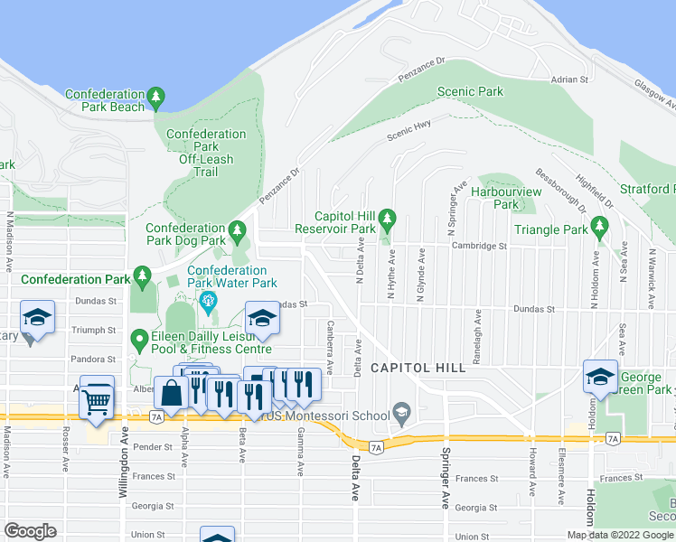map of restaurants, bars, coffee shops, grocery stores, and more near 4857 Oxford Street in Burnaby