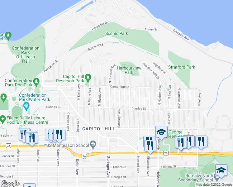 map of restaurants, bars, coffee shops, grocery stores, and more near 149 Ranelagh Avenue North in Burnaby