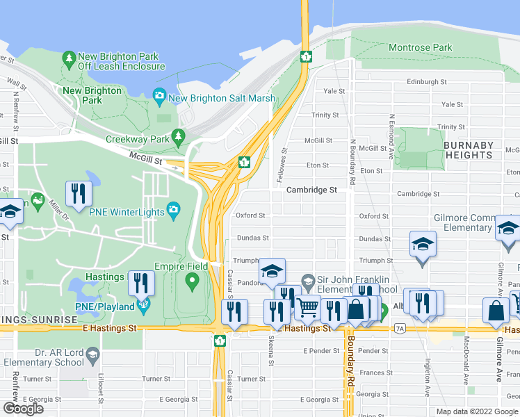 map of restaurants, bars, coffee shops, grocery stores, and more near 3475 Oxford Street in Vancouver