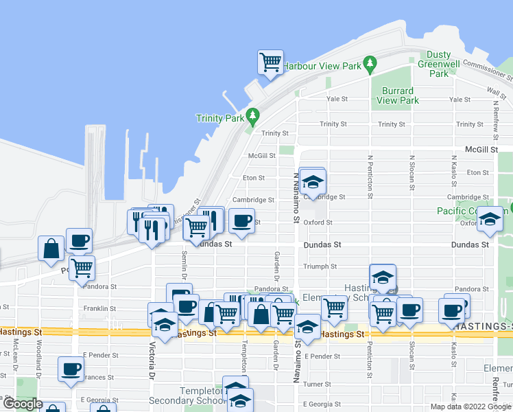 map of restaurants, bars, coffee shops, grocery stores, and more near 2222 Cambridge Street in Vancouver
