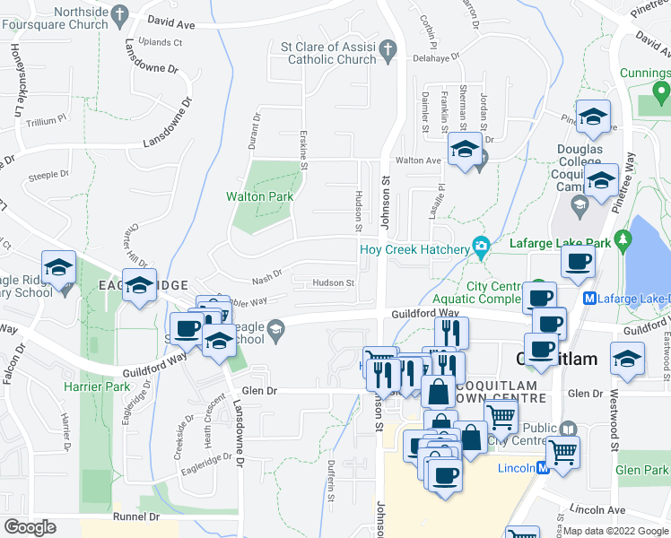 map of restaurants, bars, coffee shops, grocery stores, and more near 2880 Nash Drive in Coquitlam