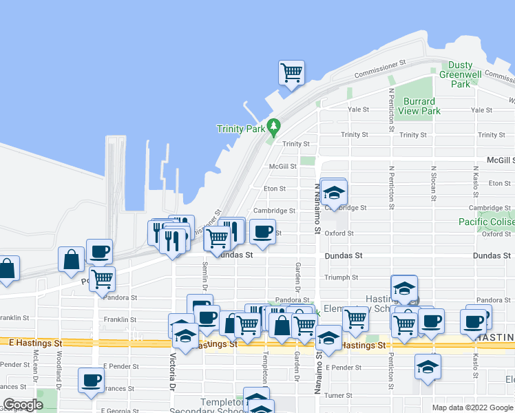 map of restaurants, bars, coffee shops, grocery stores, and more near 2175 Cambridge Street in Vancouver