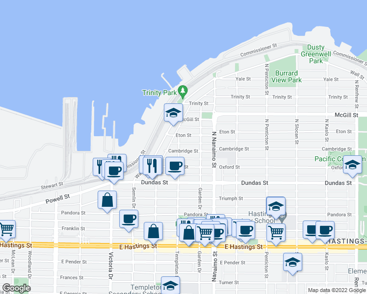 map of restaurants, bars, coffee shops, grocery stores, and more near 222 North Templeton Drive in Vancouver