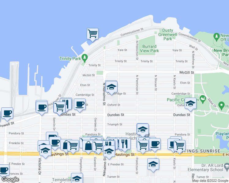 map of restaurants, bars, coffee shops, grocery stores, and more near 2473 Cambridge Street in Vancouver