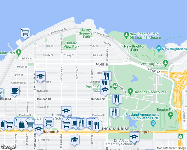 map of restaurants, bars, coffee shops, grocery stores, and more near 2806 Eton Street in Vancouver