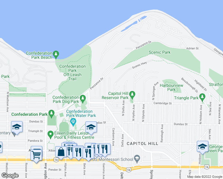 map of restaurants, bars, coffee shops, grocery stores, and more near 245 Brisbane Crescent in Burnaby