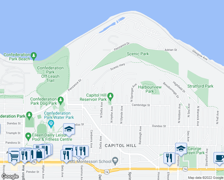 map of restaurants, bars, coffee shops, grocery stores, and more near 301 North Hythe Avenue in Burnaby