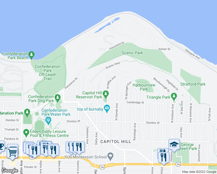 map of restaurants, bars, coffee shops, grocery stores, and more near 350 North Hythe Avenue in Burnaby