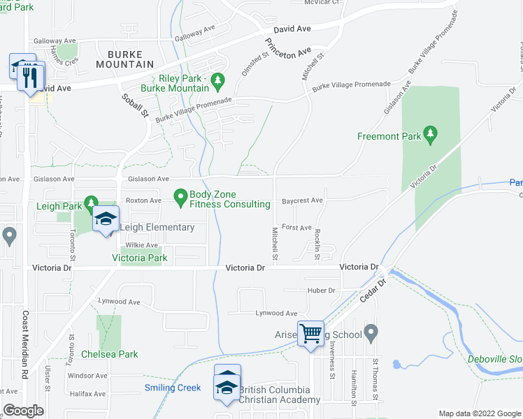 map of restaurants, bars, coffee shops, grocery stores, and more near 3484 Baycrest Avenue in Coquitlam