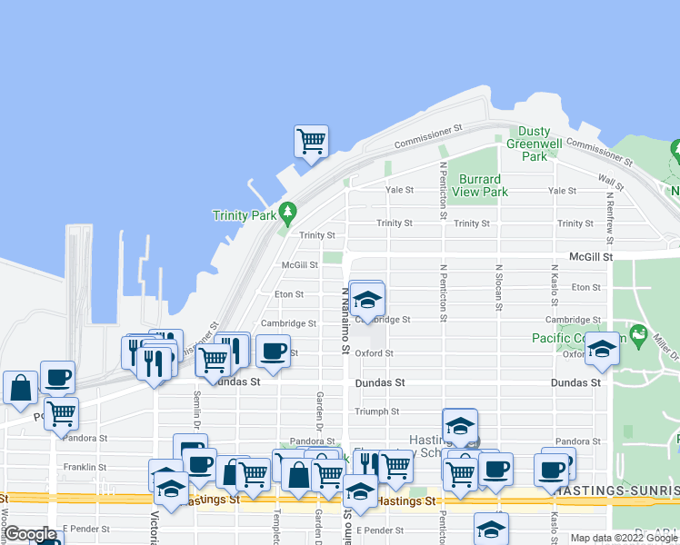 map of restaurants, bars, coffee shops, grocery stores, and more near 2390 McGill Street in Vancouver