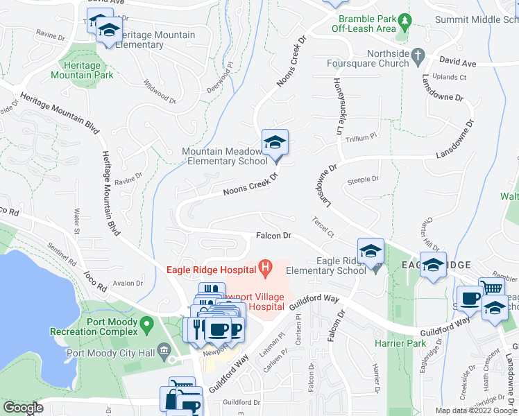 map of restaurants, bars, coffee shops, grocery stores, and more near 634 Thurston Terrace in Port Moody