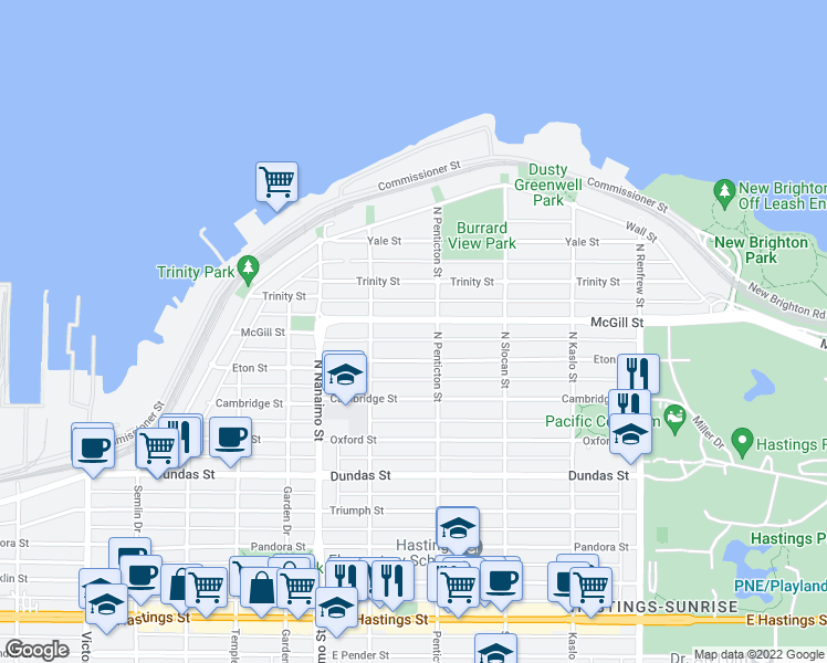 map of restaurants, bars, coffee shops, grocery stores, and more near 2568 McGill Street in Vancouver