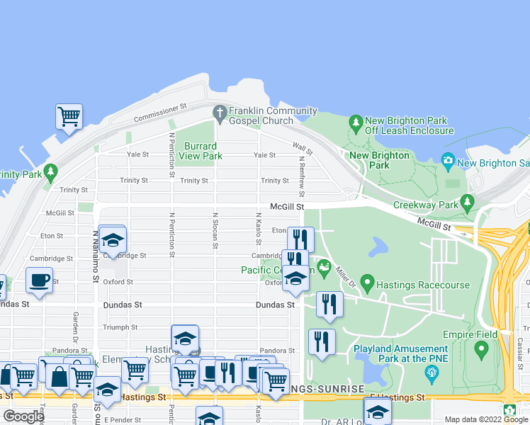 map of restaurants, bars, coffee shops, grocery stores, and more near 2810 McGill Street in Vancouver