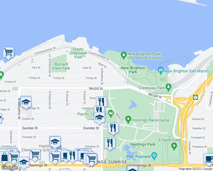 map of restaurants, bars, coffee shops, grocery stores, and more near 2919 McGill Street in Vancouver