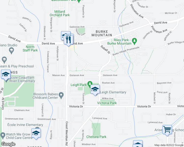 map of restaurants, bars, coffee shops, grocery stores, and more near 3415 Gislason Avenue in Coquitlam