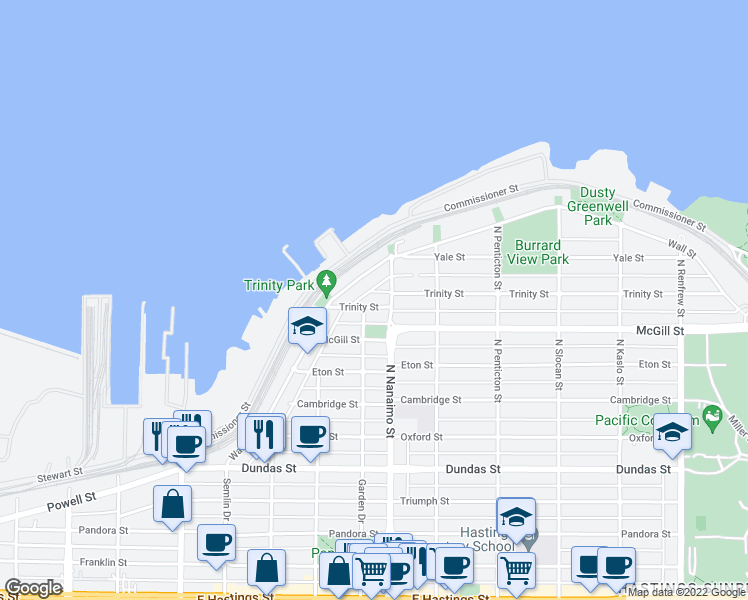 map of restaurants, bars, coffee shops, grocery stores, and more near 2355 Trinity Street in Vancouver