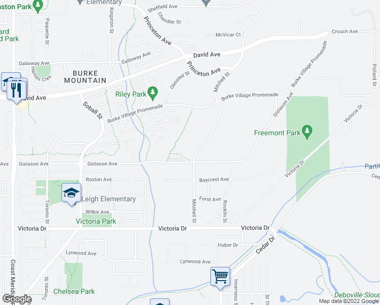 map of restaurants, bars, coffee shops, grocery stores, and more near 1290 Mitchell Street in Coquitlam