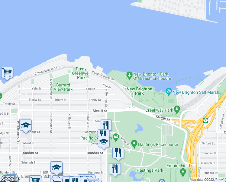 map of restaurants, bars, coffee shops, grocery stores, and more near 2985 Wall Street in Vancouver