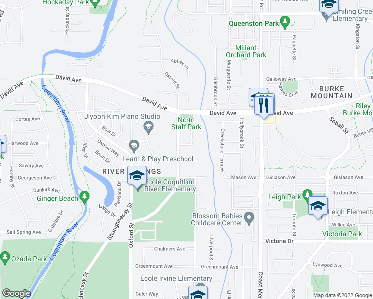map of restaurants, bars, coffee shops, grocery stores, and more near 3322 Forestgate Place in Coquitlam