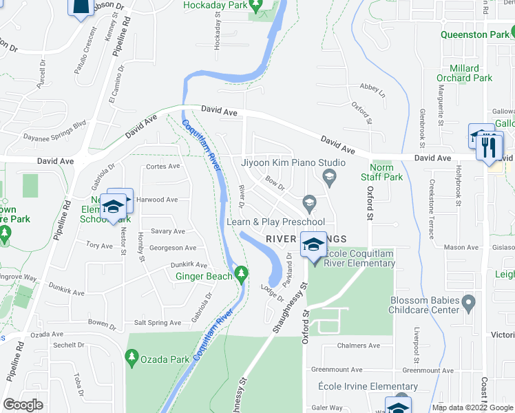 map of restaurants, bars, coffee shops, grocery stores, and more near 1258 Brian Drive in Coquitlam