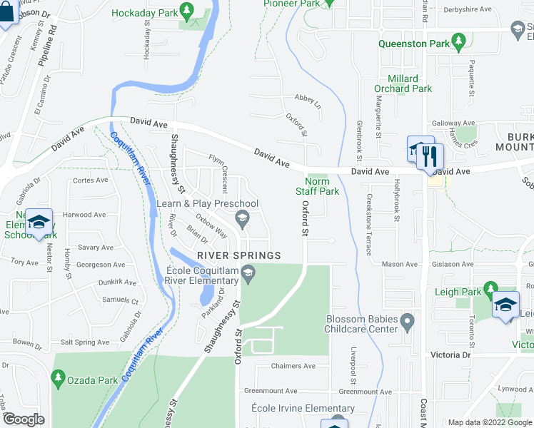 map of restaurants, bars, coffee shops, grocery stores, and more near 1888 Bow Drive in Coquitlam