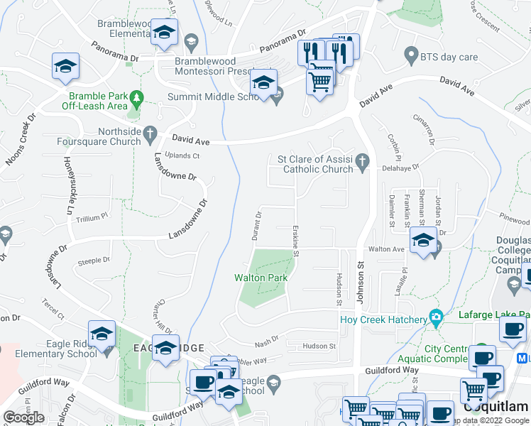 map of restaurants, bars, coffee shops, grocery stores, and more near 1304 Durant Drive in Coquitlam