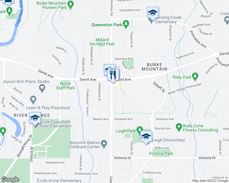 map of restaurants, bars, coffee shops, grocery stores, and more near 1299 Coast Meridian Road in Coquitlam