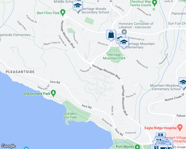 map of restaurants, bars, coffee shops, grocery stores, and more near 13 101 Parkside Drive in Port Moody