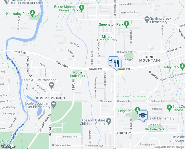 map of restaurants, bars, coffee shops, grocery stores, and more near 3340 Leston Avenue in Coquitlam