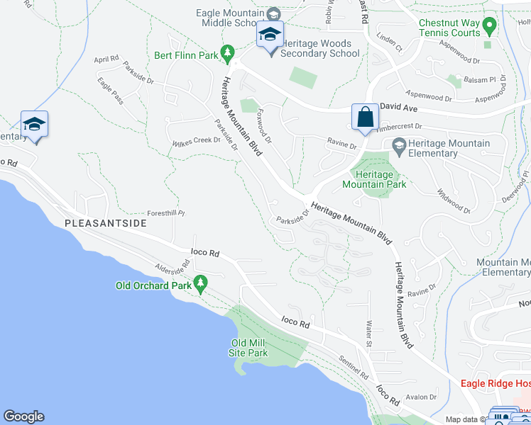 map of restaurants, bars, coffee shops, grocery stores, and more near 106 Parkside Drive in Port Moody
